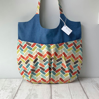 Relaxed Tote Bag - Denim and Colourful Geometric