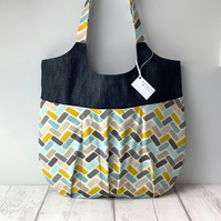 Relaxed Tote Bag - Teal and Yellow - Slouchy Tote