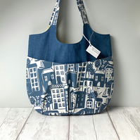 Relaxed Tote - Blue and Denim - Slouchy Tote