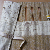 Knitting needle roll complete with needles