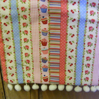 Peg bag with cupcake stripe and bobble trim. Freepost