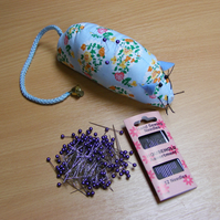 Pin cushion, pearl pins and needle set