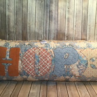 Vintage fabric Bolster cushion 'HOPE' Appliqué