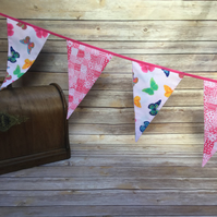 Butterflies and pink pattern bunting
