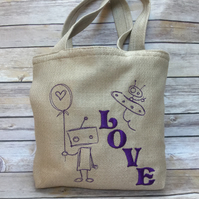 'Love' linen mix, Robot embroidered bag