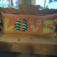 Vintage fabric 'LOVE' cushion now reduced