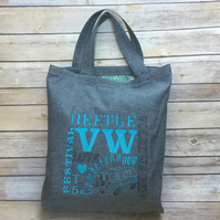 Denim VW inspired embroidered tote,fully lined