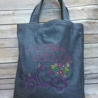 Moped and flowers 'LOVE & PEACE' denim tote bag