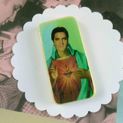 Elvis Domino Brooch