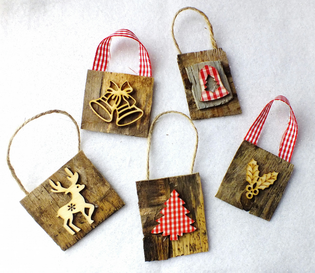 Christmas Tree Decorations Recycled: Set Of 5 Recycled Christmas Tree Decorations