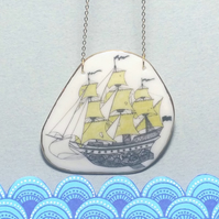 Porcelain Sailing Ship Nautical Necklace with gold detail. Unique, handcrafted