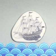 Porcelain Sailing Ship Brooch with Silver detail, unique and handcrafted.
