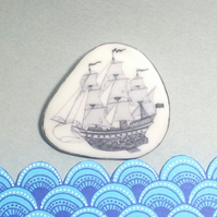 Ceramic Brooch, Sailing Ship with Silver detail, unique and handcrafted.