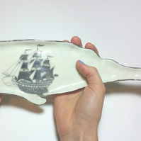 Porcelain Sperm Whale dish with Sailing Ship decal print & shiny silver lustre