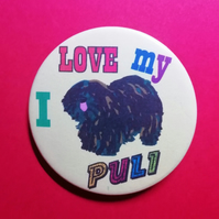 Puli Dog badge pin I love my Puli