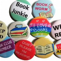 10 badges Book worm badge set gift for book lovers reading club member