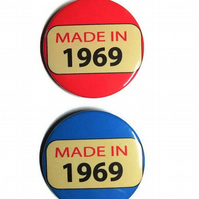 50th birthday badge fiftieth birthday age pin badge made in 1969
