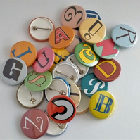 Alphabet pin badges letter pins letters of the alphabet buttons a to z
