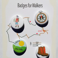Outdoor enthusiasts badges walking club hikers pin badge