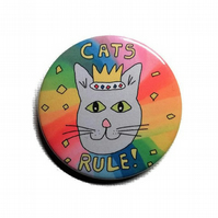 Cat badge or keyring cats rule king cat they are they best