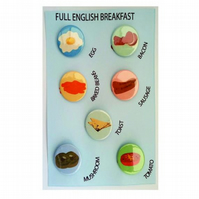 Full English Breakfast badges set of breakfast items pin badges beans bacon eggs