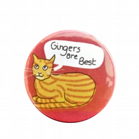 Ginger cat badge gingers are best pin for cat lovers stripy cat