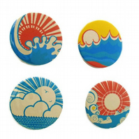 Japanese style badges set 4 Vintage Japan theme pin buttons far east