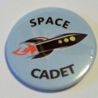 Space Cadet badge rocket pin science fiction fan pin retro spacecraft badge