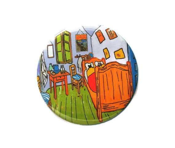 Van Gogh cat mirror cats in bed in Vincents bedroom pocket mirror