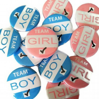 Baby shower gender reveal badge set 28 badges