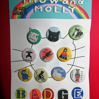 Cat badge set for cat lovers 10 pin badges