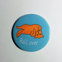 Ginger cat badge roll over cute cat
