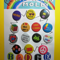 80's retro badges set pin badge for the 1980s party accessory