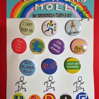 running badges set of 10 runner jogger keep fit exercise fans pin badge