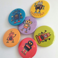 Robot badges set of 6 space robot pin button