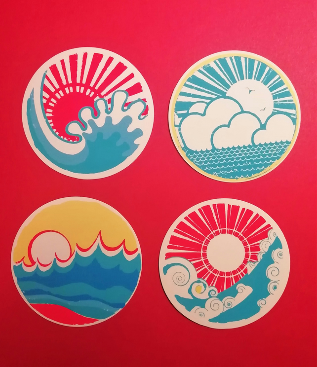 Set of 4 Japanese style stickers 5.5 cm in diameter