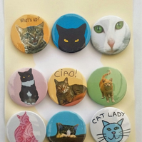 Cat person badges for cat lovers and admirers 9 badges 45mm