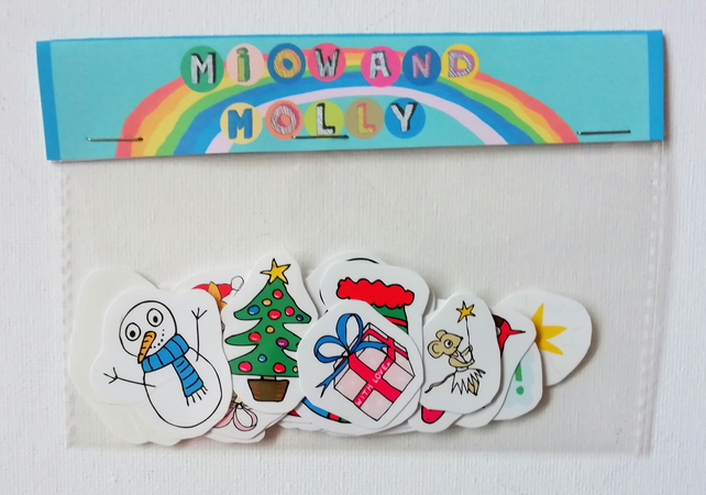 Christmas decoration sticker set 25 pack of xmas stickers
