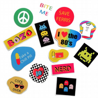 1980's party stickers 80s favors retro sticker 14 in set vinyl stickers