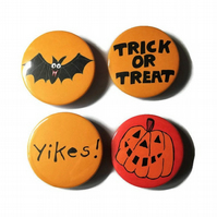 Halloween badges 45mm pumpkin bat trick or treat yikes pins