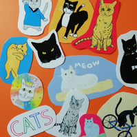 cat stickers set vinyl glossy cats 11 in pack