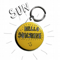 Hello sunshine keyring happy sun key ring