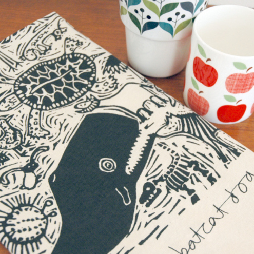 Armadillo Bat Cat Tea Towel