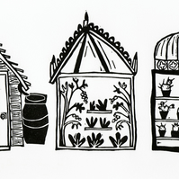 Lino Print - Shed, Glasshouse, Hothouse