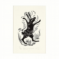 Lino Print - Dancing Hare - hare art, hares,