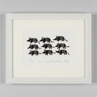 Nine Tiny Armadillos - original lino print