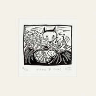 Lino Print - Vixen and Cubs - fox, fox art, fox print,