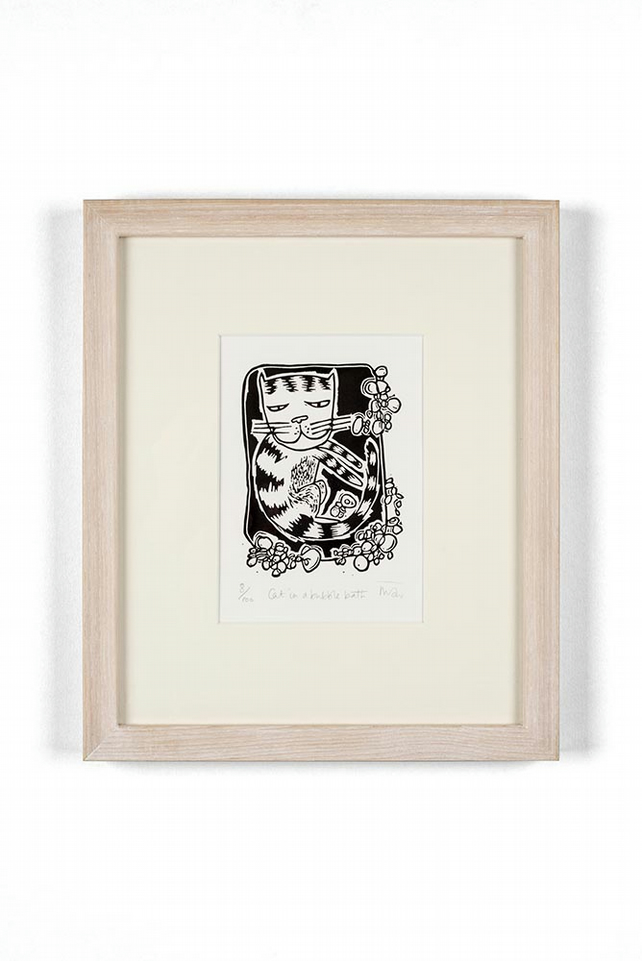 Cat in a bubble bath - original lino print