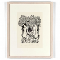 Woodland Walk - original forest lino print, countryside art, woods, trees,