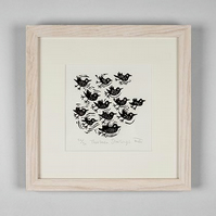 Lino Print - Thirteen Starlings - bird art, bird print,